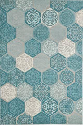 Buitenkleed Hexagon Karpet 200x290cm Turquoise
