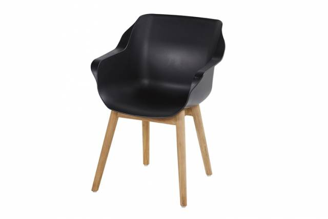 Diningstoel Sophie Teak Armchair Carbon Black
