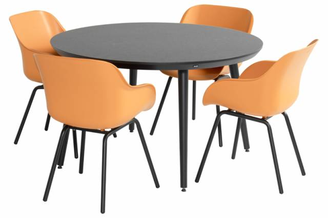 Diningset Sophie Elegance Ronde Orange - Studio HPL Black 5-delig